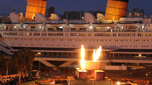 PHOTO A 1930s cruise ship turned World War II vessel is now a modern day floating hotel and museum in Long Beach, Calif.