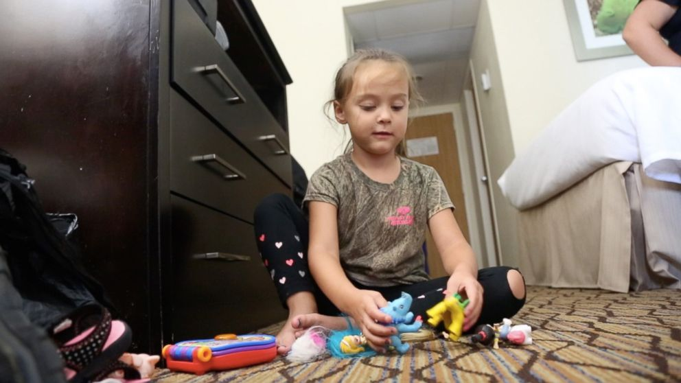 Anabella Weeks at a hotel in Corpus Christi, Texas, on August 25, 2017, after her family evacuated their home due to the arrival of Hurricane Harvey.