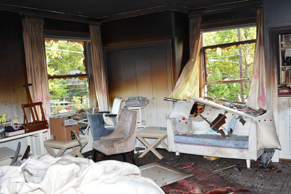 Crime scene photo shows one of the burned out rooms inside the Savopoulos Washington, D.C., home.