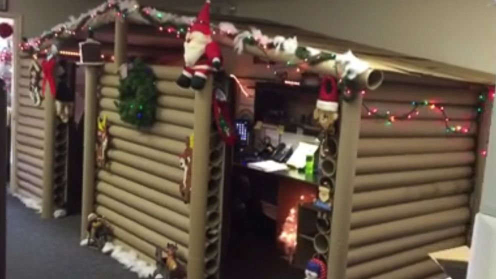 office cubicle gets transformed into cozy christmas cabin that wins decorating contest abc news - Cabins Decorated For Christmas