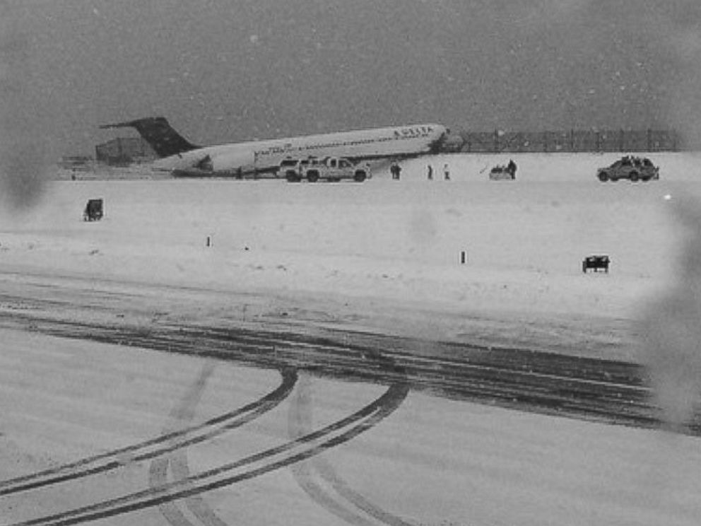 PHOTO: Kristina Grossmann posted this photo to Instagram showing Delta flight 1086 at Laguardia Airport in New York on March 5, 2015 with the caption, and... LaGuardia shuts down.