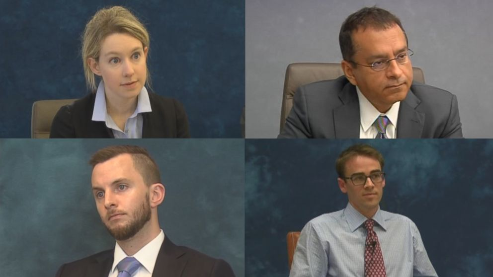 "From left to right, Theranos CEO Elizabeth Holmes, Ramesh ""Sunny"" Balwani, her brother Christian and whistleblower Tyler Shultz are seen here during their depositions."