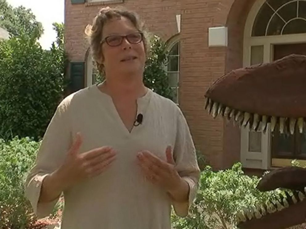 PHOTO: Nancy Hentschel is pictured talking about her dinosaurs.