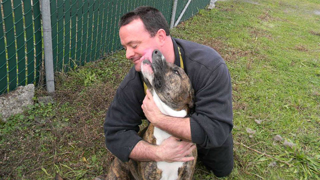 PHOTO: Douglass Keanes dog, Cash, was nearly euthanized for being too aggressive before Colleen Combs rehabilitated him.