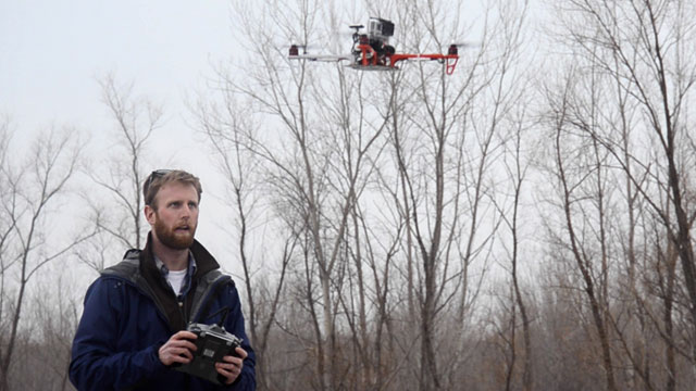 "PHOTO: Journalism students at the University of Missouri School of Journalism practice flying ""J-Bots"", or journalism drones, which are being used to gather coverage in news reporting."