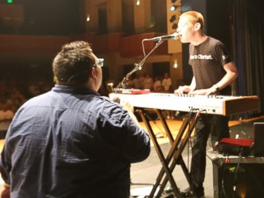 PHOTO: Christopher Duffley (right) performing on stage with SideWalk Prophets David Frey in Manchester, MD. July 23, 2016.