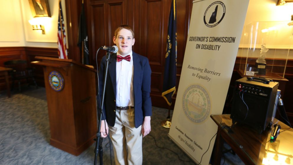 Christopher Duffley performing the Star-Spangled Banner at the New Hampshire Governor's Commission on Disability. Concord, NH. July 27, 2016.