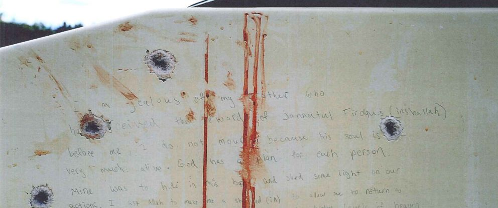 PHOTO: During the Boston Marathon bombing trial, prosecutors released images of the note written by alleged bomber Dzhokhar Tsarnaev on the wall of a dry-docked boat in which he was found hiding before he was arrested.