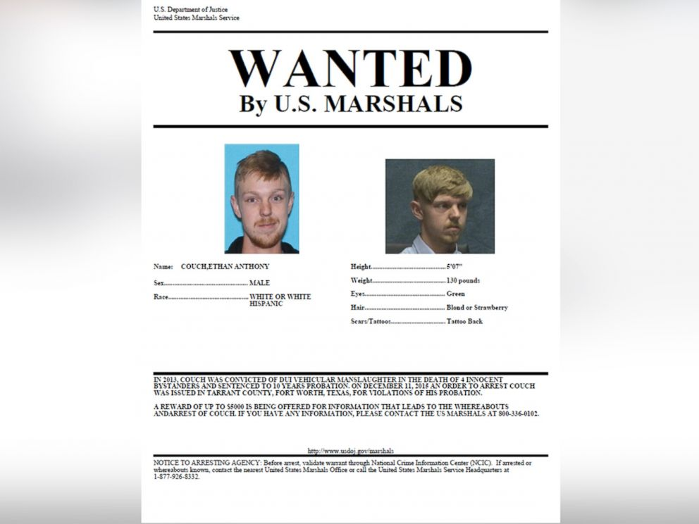 PHOTO: The U.S. Marshals Service released a wanted poster for affluenza teen Ethan Couch, who is wanted for allegedly violating his probation.