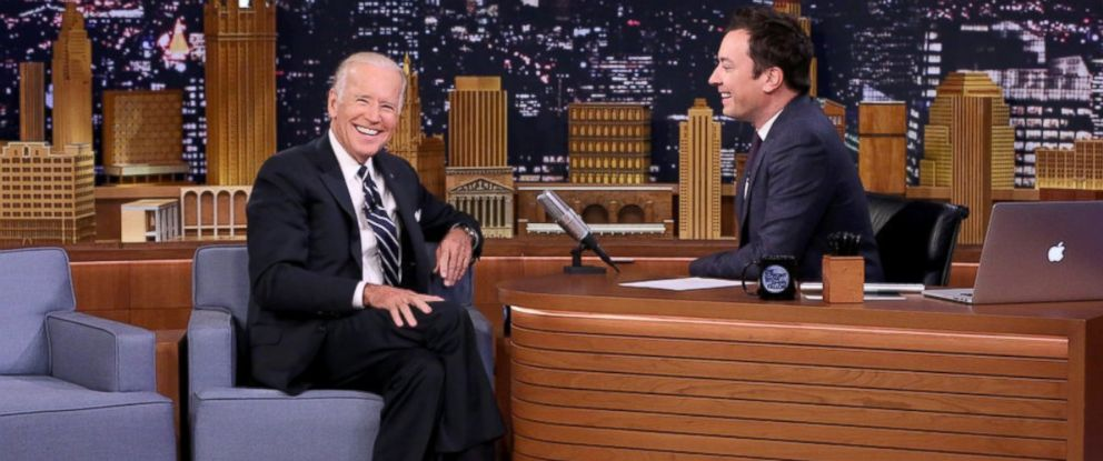 PHOTO: THE TONIGHT SHOW STARRING JIMMY FALLON -- Episode 0544 -- Pictured: (l-r) Vice President of the United States Joe Biden during an interview with host Jimmy Fallon on September 29, 2016