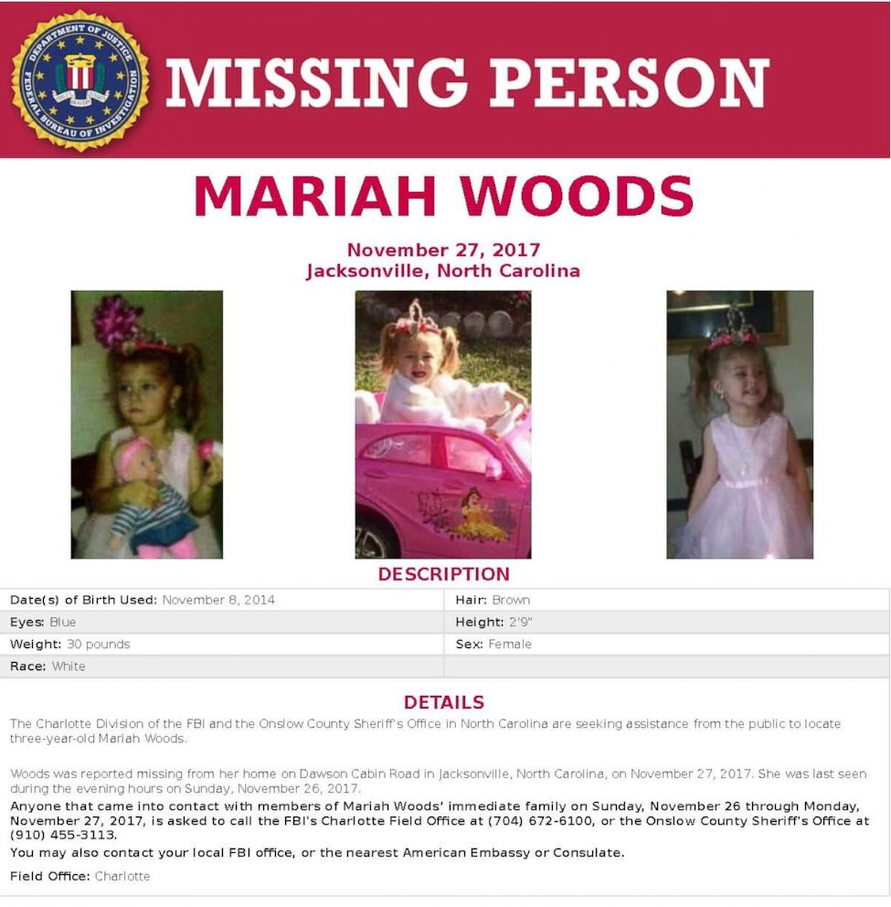 PHOTO: The FBI has been circulating this missing person poster for Mariah Woods.