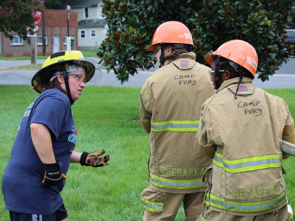 PHOTO: Firefighters-in-training learn CPR and firefighting skills at Camp Fury Chesapeake, a camp that teaches young girls the skills to become firefighters, on Tuesday, Aug. 9, 2016 in Chesapeake, Virginia.