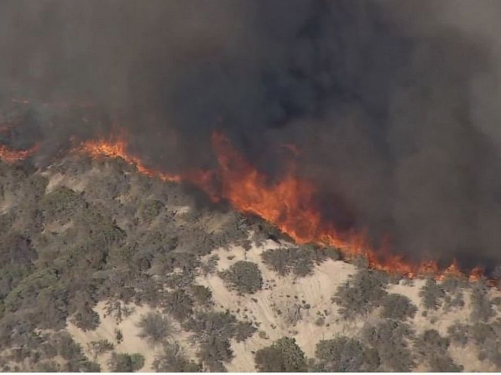 PHOTO: The Blue Cut Fire rages on in San Bernardino County, California, on August 16, 2016.