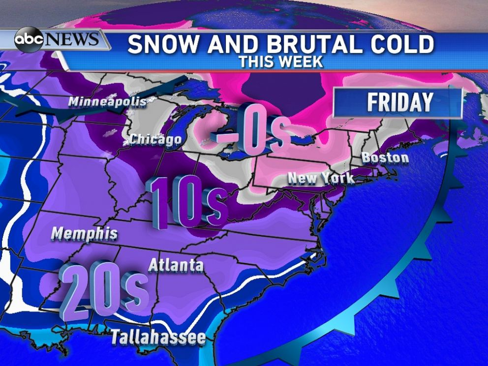 PHOTO: Temperatures plummet by Friday, even as far south as Florida