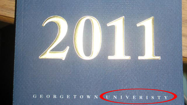 PHOTO: Georgetown University accidentally misspells university on its commencement book.