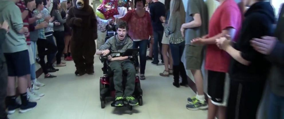 PHOTO: Kyle Boule had a sendoff from the students at Goffstown High School in Goffstown, N.H.