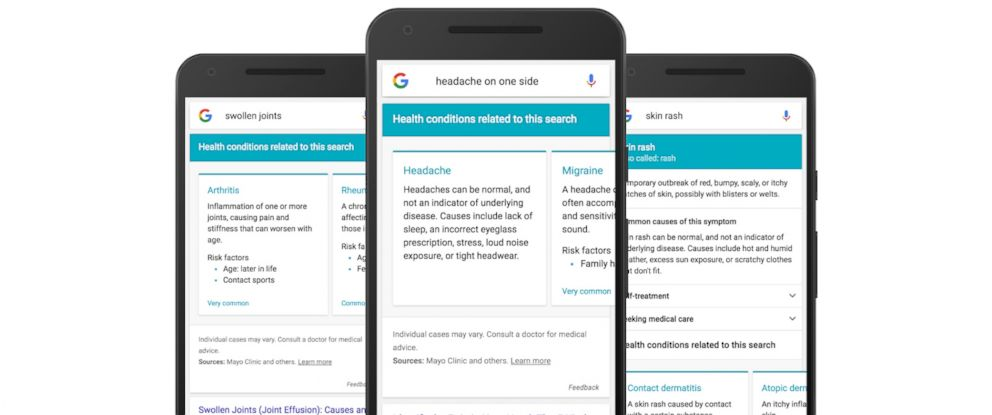 """PHOTO: Google announced that they are making improvements to their search engine in order to, """"help you to navigate and explore health conditions related to your symptoms."""""""