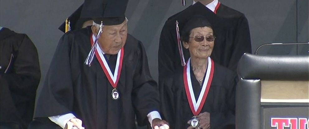 PHOTO: George and Miko Kaihara who survived life in an internment camp during WWII and finally received their high school degrees on June 18, 2015 at Tustin High School.