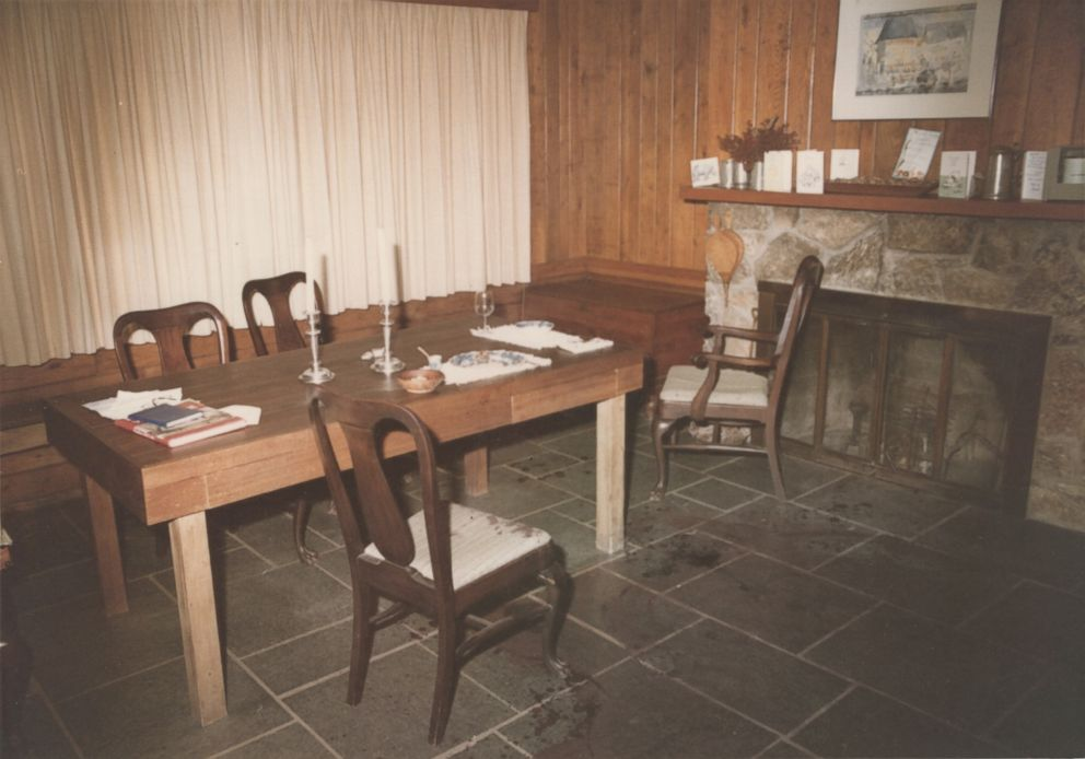 Police photo shows the dining room at the Haysom household after the murders.