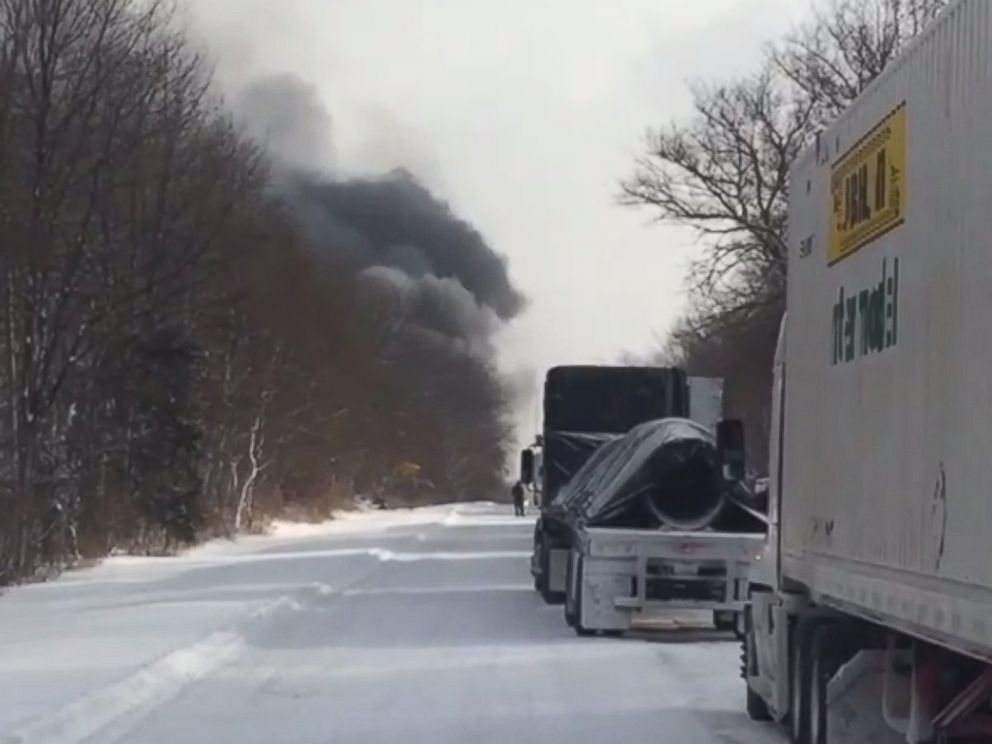 PHOTO: Smoke billows from a large accident on I-94 near Kalamazoo, Mich., on Jan. 9, 2015.