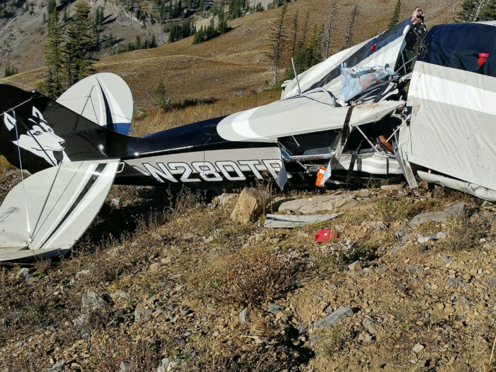 PHOTO: A photo released on Oct. 16, 2015, shows the wreckage of a two-seater plane that crashed in Bonneville County, ID. The plane crashed on Oct. 15 carrying two passengers.