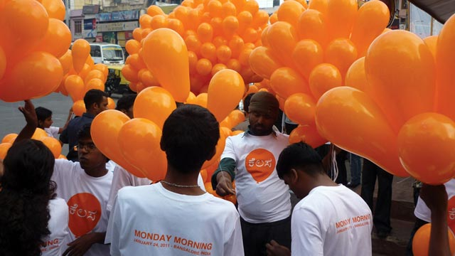 PHOTO: A New York-based artist hands out balloons in Afghanistan to help spread hope and celebration at previous event.