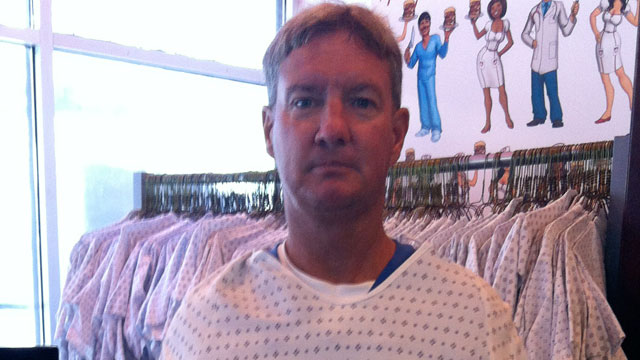 "PHOTO: John Allemans ""Patient John"" caricature that adorns the Heart Attack Grills menu and merchandise."