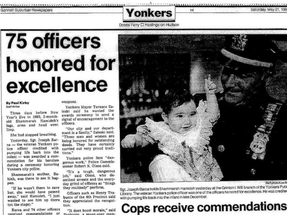 PHOTO: Yonkers Police Department Capt. Joseph Barca will attend the Aug. 17 wedding of Shammarah Hamideh, a woman whose life he saved.