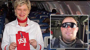 Photo: Delta Flight Attendant Serves Up Drinks, Journals for American Troops: Robin Schmidt Has Sent Troops Hundreds of Journals Filled Out by Delta Passengers