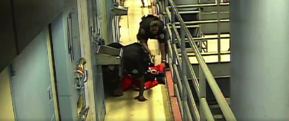 PHOTO: Footage obtained by The New Yorker from Rikers Island appearing to show Kalief Browder held down by prison guards.