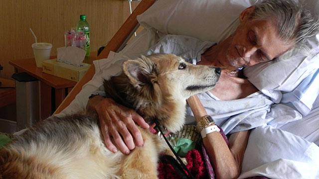PHOTO: After being admitted to a hospice, Kevin McClains main worry was not for himself, but his dog Yurt.