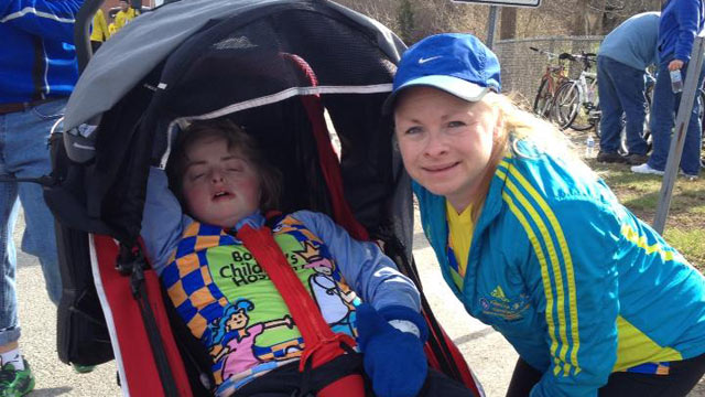 PHOTO: For the past year, Kristine Biagiotti has been training to run the Boston marathon with her disabled 18-year-old daughter Kayla. They were the first mother-daughter wheelchair team in the race's history.