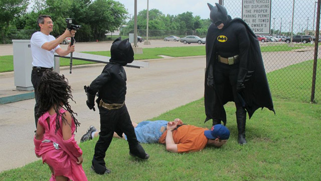 PHOTO: Kyle, 7, is battling luekemia. His wish was to be batman, and the Arlington Police Department helped him do that.