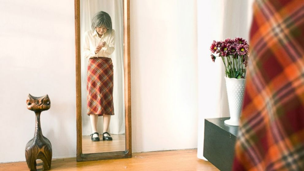 "Photographer Kyoko Hamada dresses as a character that she calls Kikuchiyo-san for her photo series called ""I used to be you."""