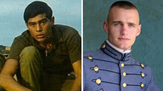 PHOTO: Specialist 4 Leonard Lanzarin, United States Army, left, and First Lieutenant Joshua Booth, United States Marine Corps are seen in these undated file photos.