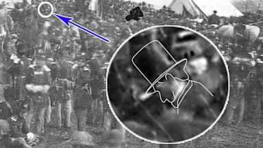 PHOTO: This image taken at the dedication ceremonies at the Soldiers National cemetery in Gettysburg, Nov. 1863., shows a rare profile of President Lincoln before he gave his infamous Gettysburg address speech.
