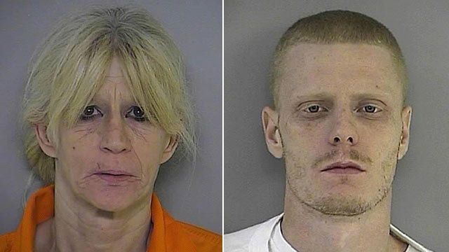 PHOTO: Debbie Longo, left, and son Charles Markahm two of the five suspects busted in a drug scheme involving drugs hidden in childrens coloring books.