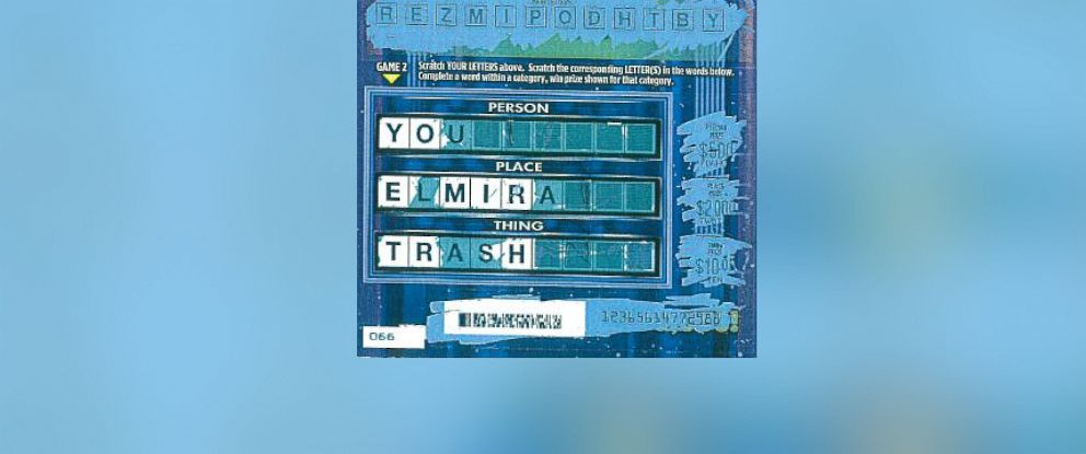 "PHOTO: Nick Lynough, of Elmira, New York, bought a scratch-off lottery ticket that said: ""You Elmira Trash."""
