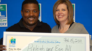 PHOTO: Erin and Raleigh Hill of Stallings, NC, shared a $1 million win in the N.C. Education Lottery?s Mega Millions game.
