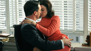 "PHOTO Jon Hamm and Jessica Pare are shown in a scene from ""Madmen."""