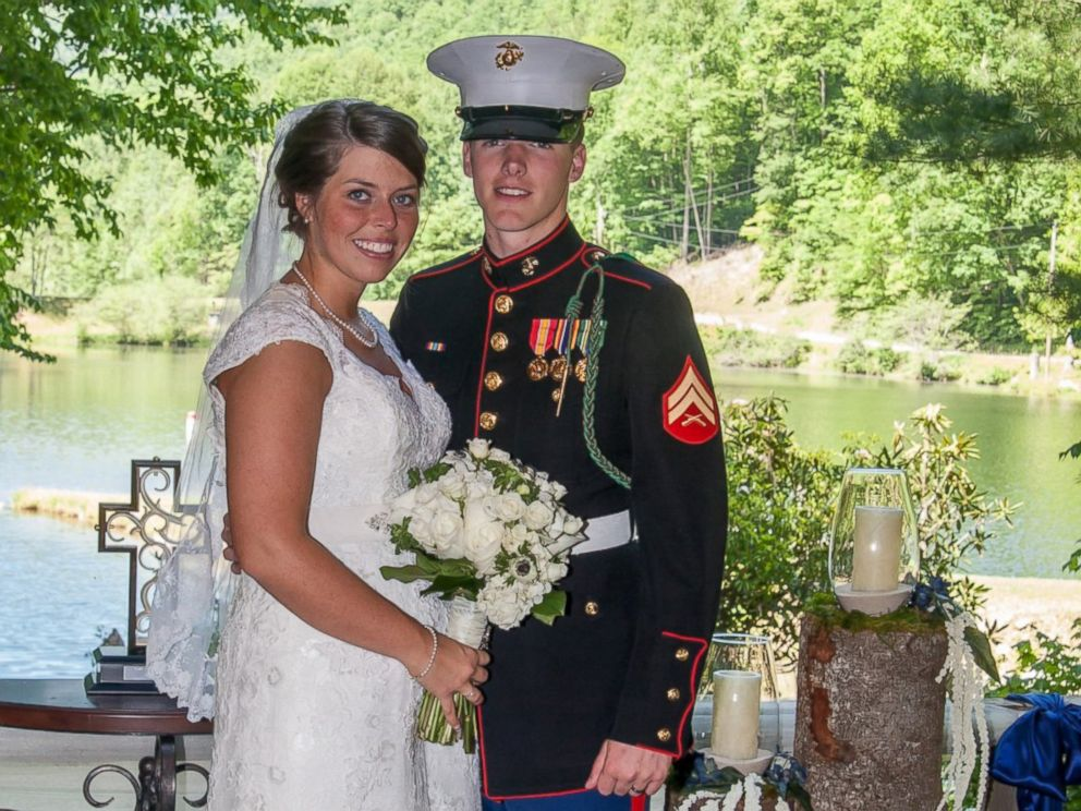PHOTO: U.S. Marine Cpl. Caleb Earwood poses with his bride-to-be Maggie in Asheville, North Carolina.