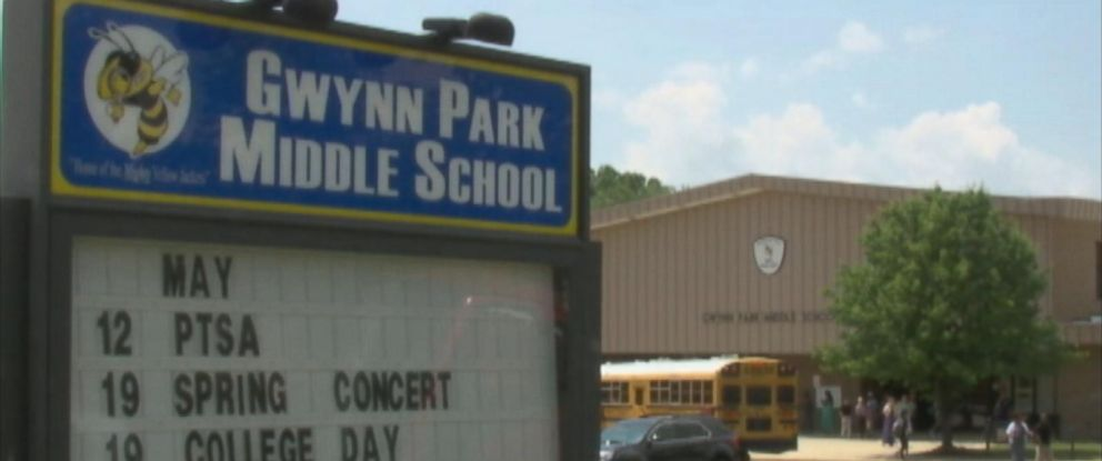PHOTO: Video shows a substitute teacher at Gwynn Park Middle School in Prince Georges County, Maryland, apparently beating a student with what appears to be a leather belt.
