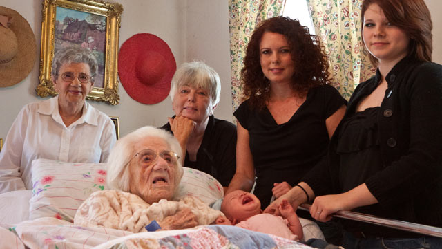 PHOTO: Mollie Wood of Charlottesville, Va celebrates her 111th with five younger generations of women in her family.