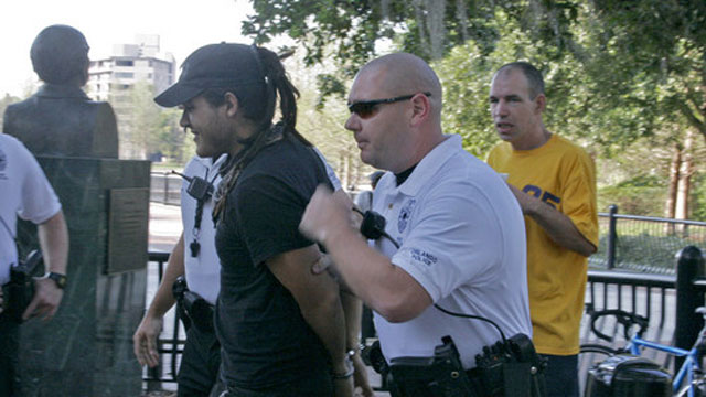 PHOTO:On April 4, 2007 Food Not Bombs volunteer Eric Montanez was arrested by police.