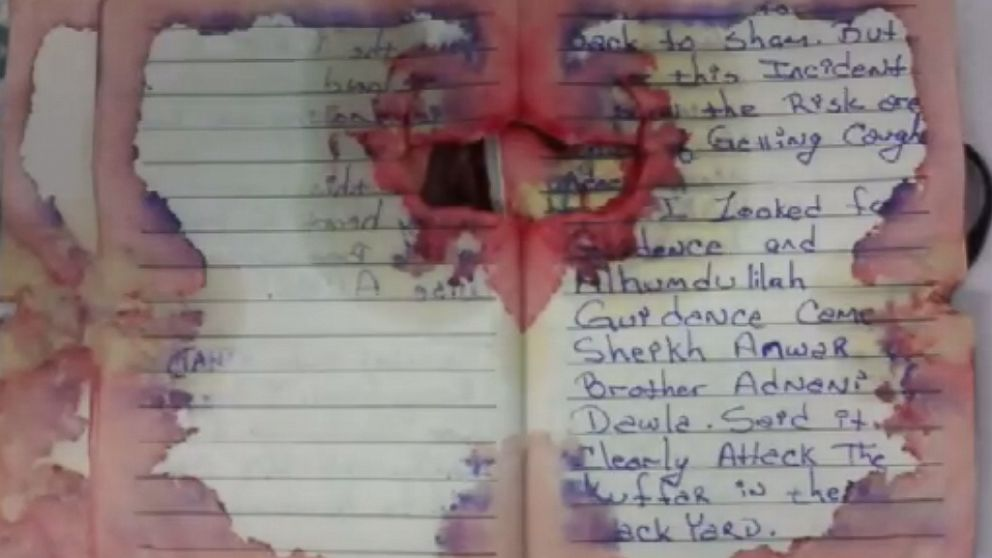 Officials released an image of what they say is the journal discovered on Ahmad Rahami when he was captured by police on Sept. 19, 2016.