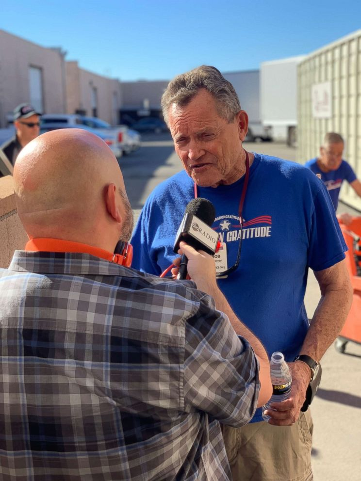 ABC News Jason Nathanson interviews Vietnam veteran Bob Donavan at a recent Operation Gratitude volunteer day.
