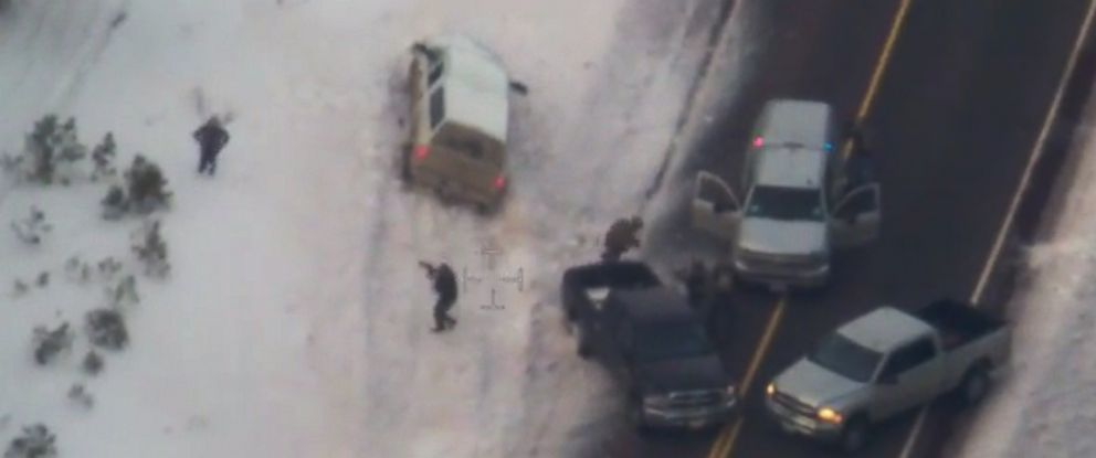 """PHOTO: The FBI released video on Jan. 28, 2016, showing the pursuit, traffic stop and deadly shooting of Robert """"LaVoy"""" Finicum in Oregon on Jan. 26, 2016."""