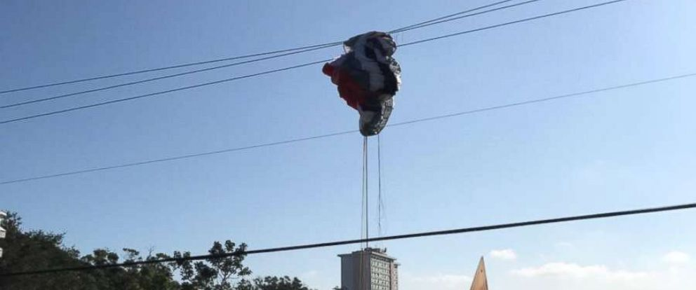 PHOTO: A paraglider slammed into power lines carrying 7,200 volts of electricity on Sept. 26, 2017 in St. Petersburg, Florida, knocking out electricity to about 40 homes.