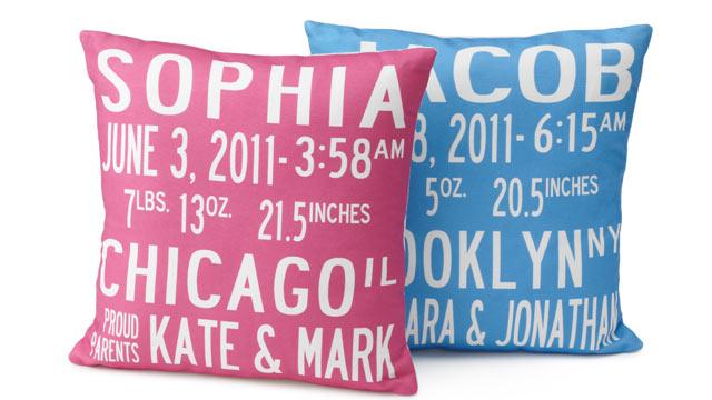 PHOTO: Birth Announcement Pillows
