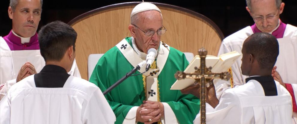PHOTO: Pope Francis is pictured at Madison Square Garden in New York City on Sept. 25, 2015.